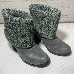 NWOT Muk Luks Gray Sock Heeled Booties